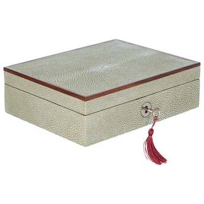 Small Faux Shagreen Lockable Jewelry Box - Taupe