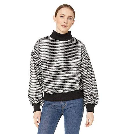 J.O.A. Women's Hounds Tooth Mockneck Sweatshirt