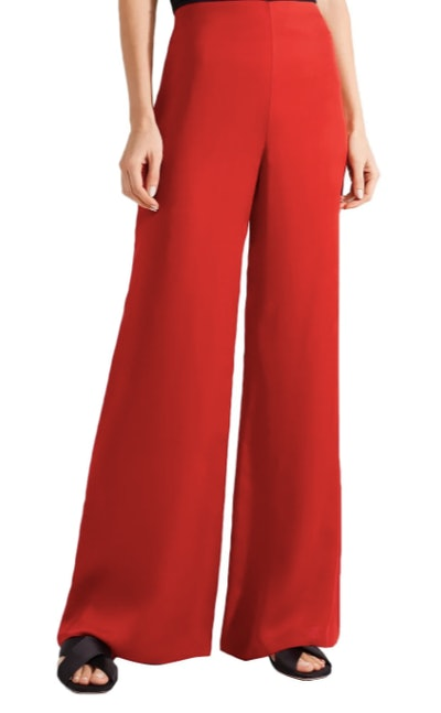 Kiola washed silk-charmeuse wide-leg pants