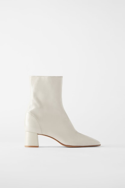 Soft Leather High-Heeled Ankle Boot