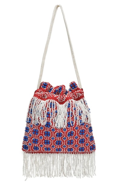 Lance beaded fringed canvas shoulder bag