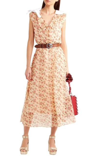 Printed cotton-organza midi shirt dress