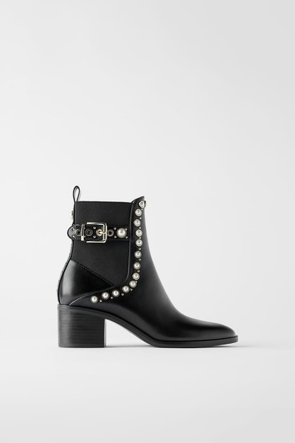 Pearl And Stud Mid-Heel Ankle Boot