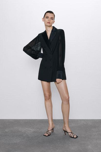 Combination Sleeve Blazer Dress