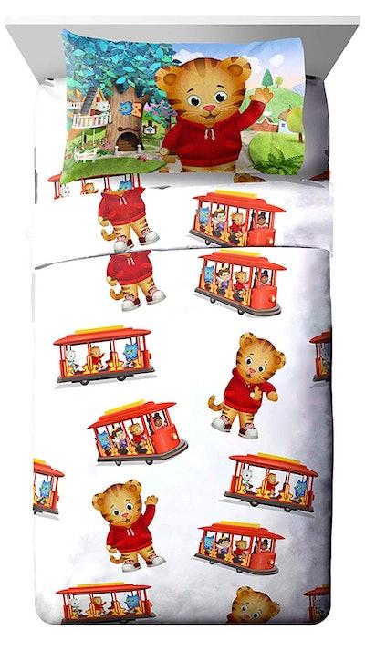 PBS Kids Daniel Tiger Trolley Ride 3-Piece White Twin Sheet Set