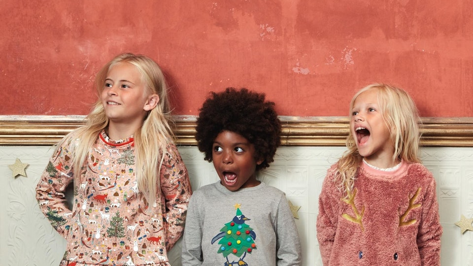 three kids wearing clothes from mini boden
