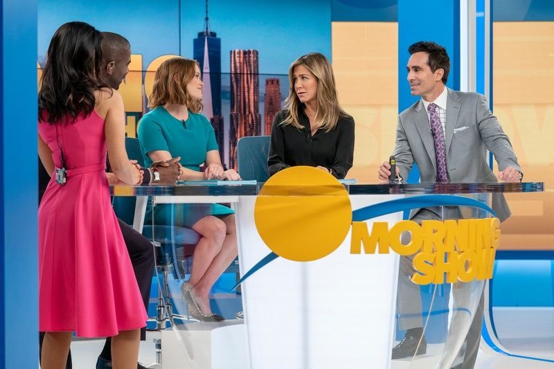 Janina Gavankar, Desean K. Terry, Reese Witherspoon, Jennifer Aniston and Nestor Carbonell in 'The Morning Show'