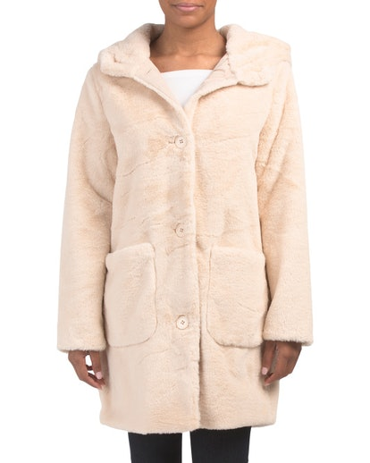 Kensie Long Hooded Wooby Coat