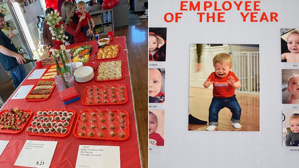 Josie and Sebastian Gonzalez threw their 1-year-old son, Mason, a Costco-themed birthday party.