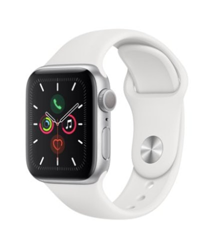 Apple Watch Series 5 GPS, 40mm Silver Aluminum Case with White Sport Band