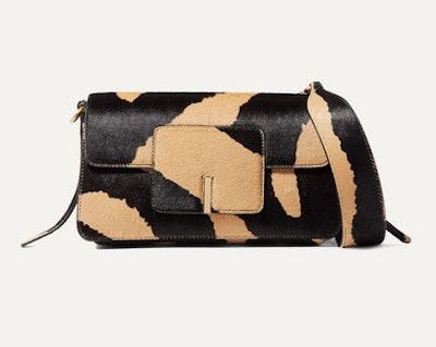 Georgia leather-trimmed calf hair shoulder bag