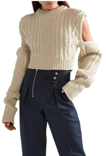 Cropped cold-shoulder cable-knit wool-blend sweater