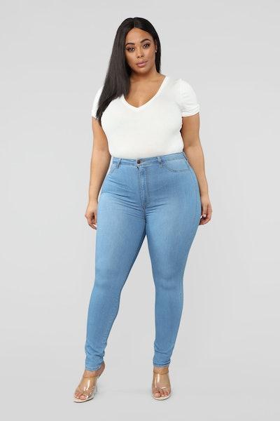 Classic High Waist Skinny Jeans - Light Blue Wash