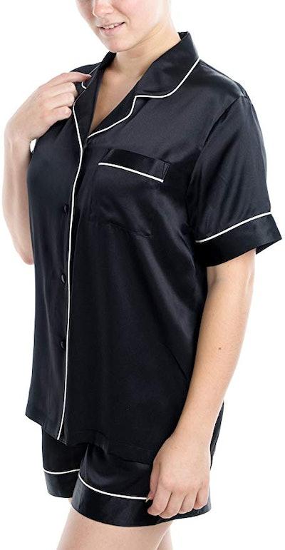 OSCAR ROSSA Silk Short Sleeve Short Pajamas Set