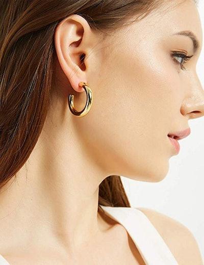 EARLLER 14K Gold-Plated Thick Gold Hoop Earrings