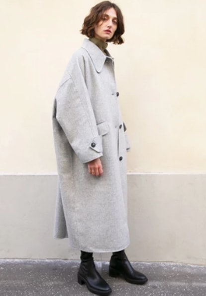 Rhino Grey Oversized Button Coat