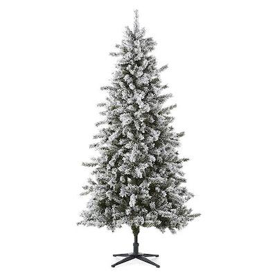 North Pole Trading Co. 7 Foot Farmington Spruce Pre-Lit Flocked Christmas Tree