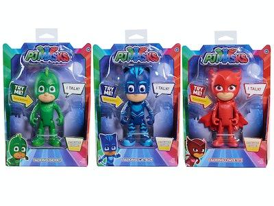 PJ Mask Gift Ideas; Gekko, Catboy, and Owlette talking figurines in their packaging.