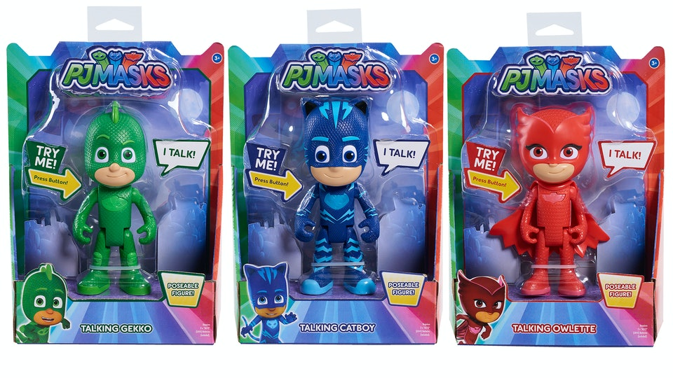 PJ Mask Gift Ideas; Gekko, Catboy, and Owlette talking figurines in their packaging.