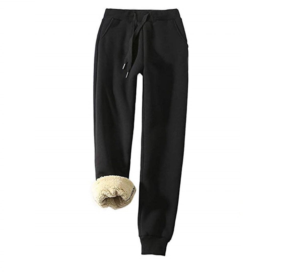 Yeokou Warm Sherpa Lined Athletic Sweatpants