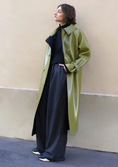 Linda Olive Patent Trench Coat