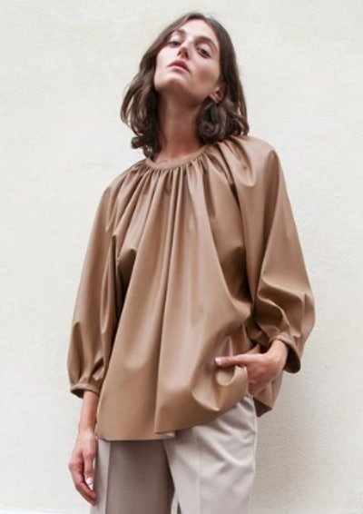 Faux Leather Gathered Neck Top in Camel Brown