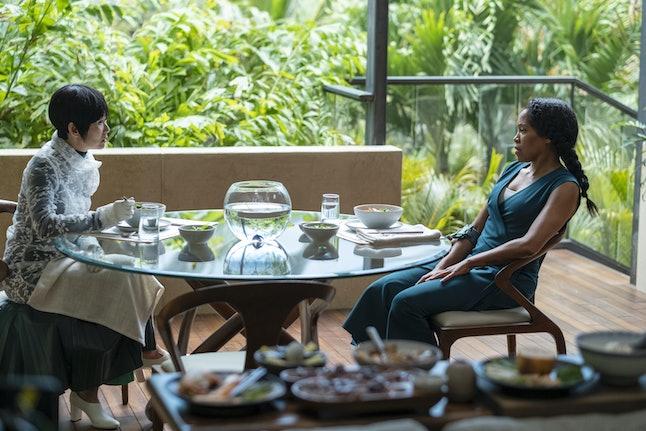 Hong Chau as Lady Trieu and Regina King as Angela Abar in Watchmen