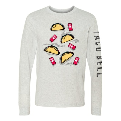 Taco Bell Fire Sauce Packet And Tacos Long Sleeve Shirt