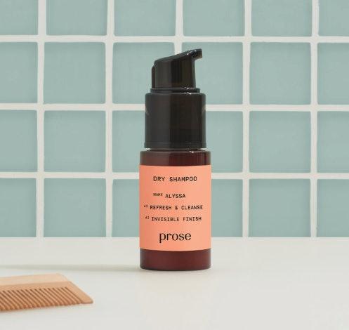 Prose custom dry shampoo leave behind no white cast on dark hair.