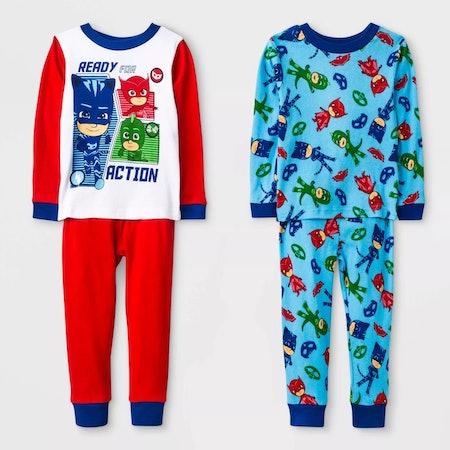 Toddler Boys' 4pc PJ Mask Pajama Set - White/Blue/Red