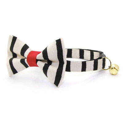"""Cheshire"" - Rifle Paper Co® Striped Black Cat Collar + Matching Bow Tie"