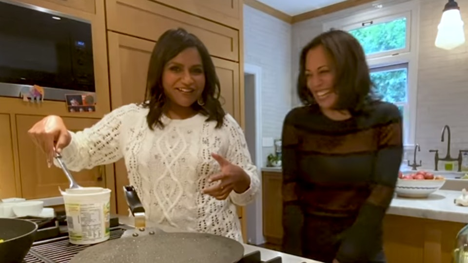 Kamala Harris learns how to cook Indian food from Mindy Kaling