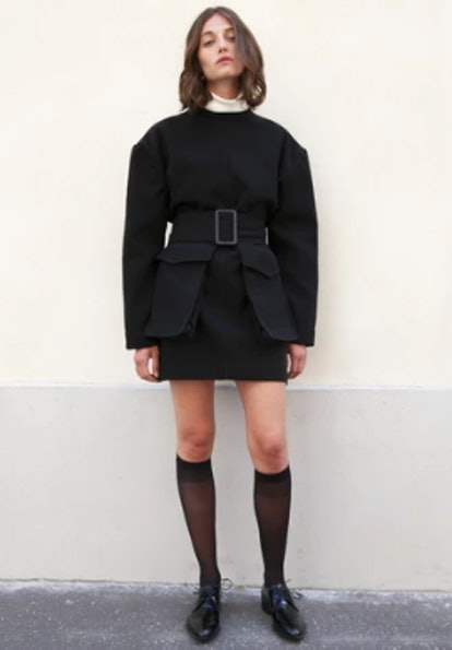 Black Patch Pocket Jacket Dress by Studio Cut