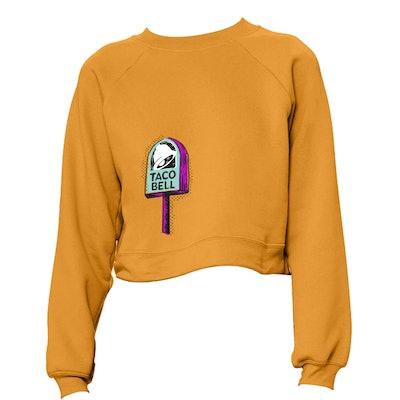 Taco Bell Lollipop Signage Cropped Sweatshirt