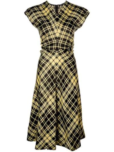 S/S Gathered Plaid Dress-Crinkle Plaid
