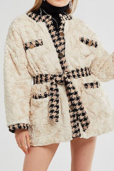 Grace Trimmed Fuzzy Fur Jacket