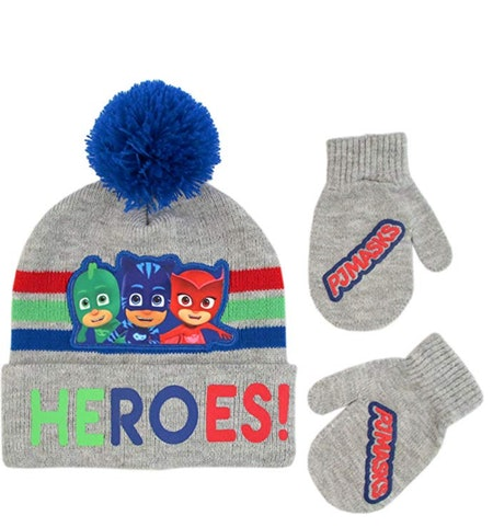 PJ Masks Toddler Boy's Assorted Characters Beanie Hat and Mittens Cold Weather Set, Blue/Red/Grey, Age 2-4