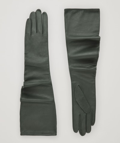 Curved Long Leather Gloves