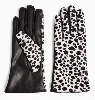Cow Print Touchscreen PU Gloves