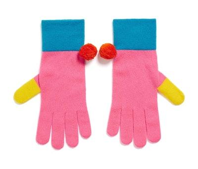 Colour Block Wool-Cashmere Ski Gloves