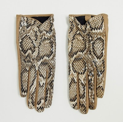 Leather Snake Touch Screen Gloves