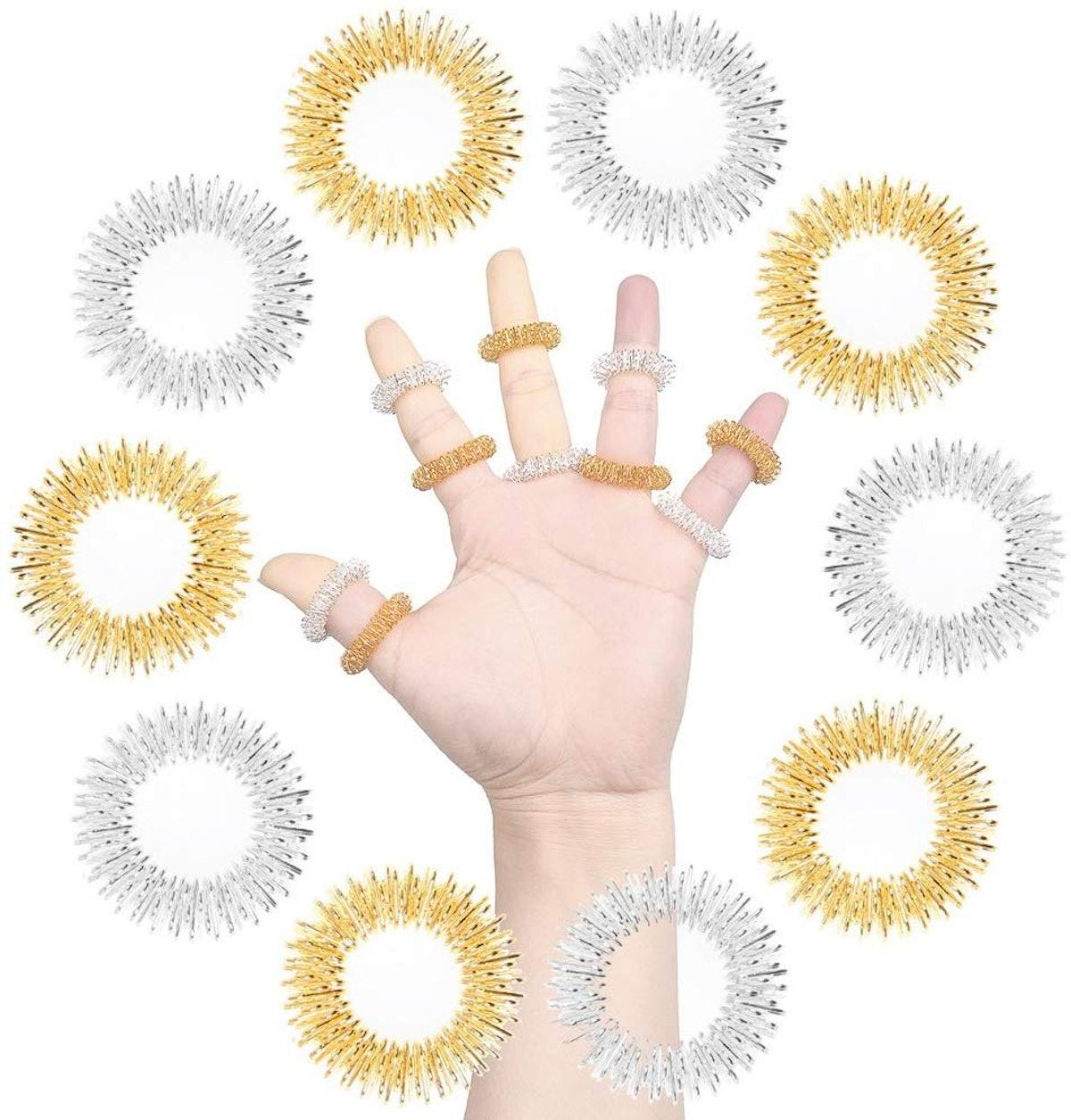 SUMAJU Acupressure Massage Rings (Set of 10)