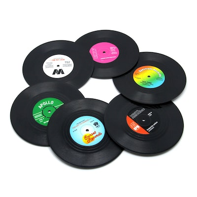 DuoMuo Vinyl Record Coasters (6-Pack)