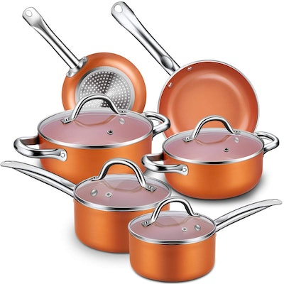 CUSINAID 10-Piece Aluminum Cookware Sets Pots and Pans Set