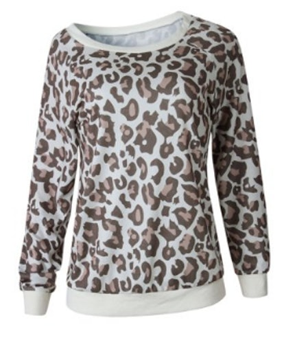 Nlife Leopard Print Round Neck Long Sleeves Pullover Sweatshirt