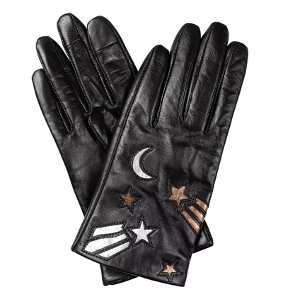 Moon & Star Black Leather Gloves