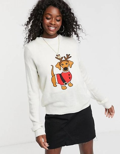 Brave Soul Christmas Sweater with Daschund Applique
