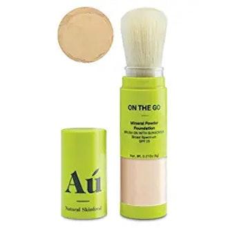 AÚ NATURAL SKINFOOD On the Go Mineral Powder Brush-On Sunscreen (Light) Broad Spectrum SPF 25