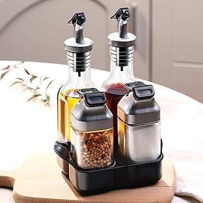 Oil and Vinegar Salt and Pepper Dispenser Set by vvise