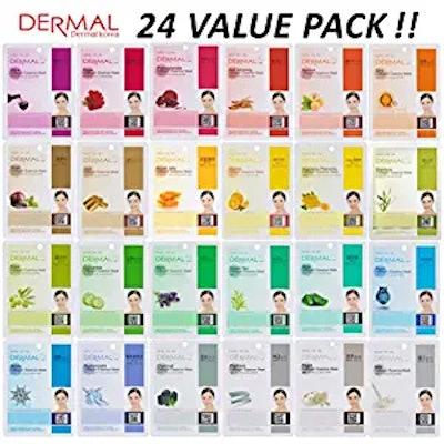 DERMAL Collagen Essence Facial Mask Sheet (24 Combo Pack)